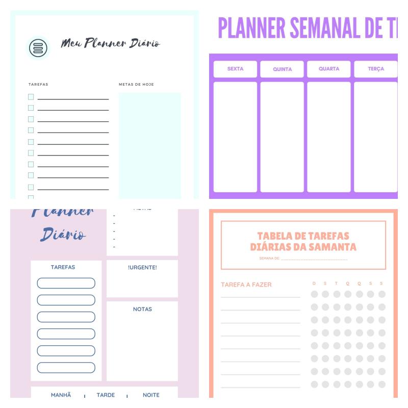 planner semanal planner diario