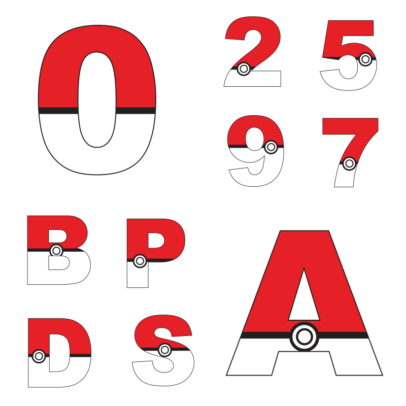 Numeros e letras pokemon
