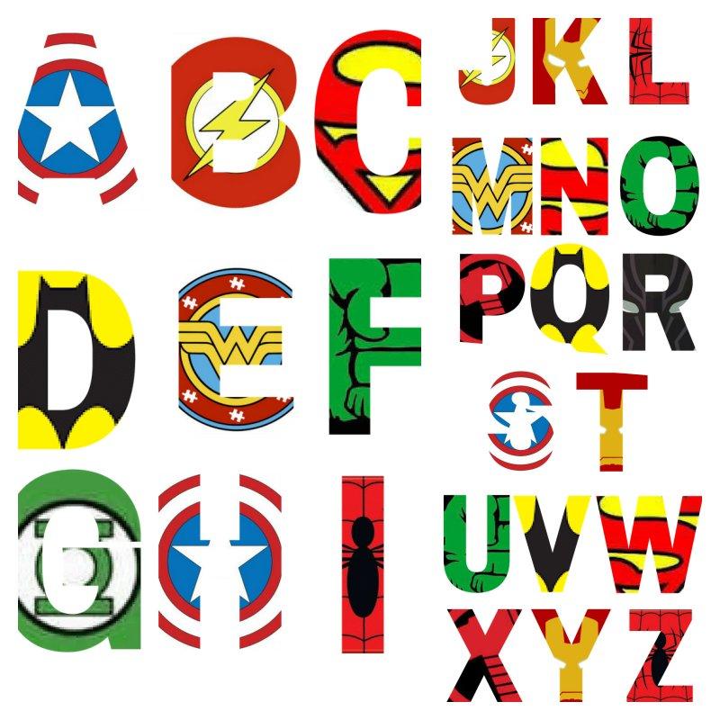 alfabeto personalizado avengers
