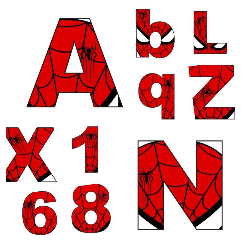 alfabeto personalizado homem aranha