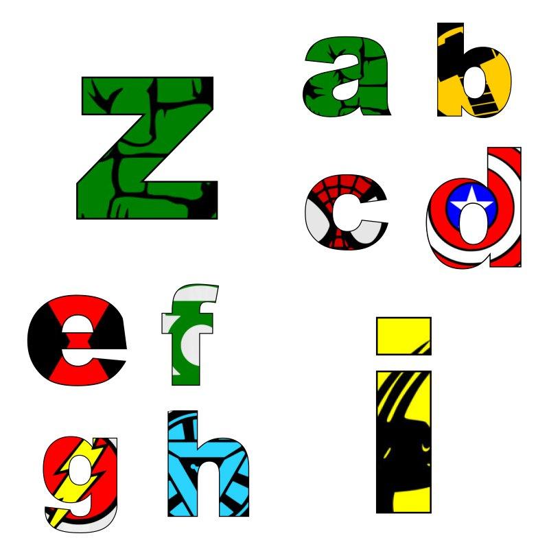 alfabeto personalizado super herois