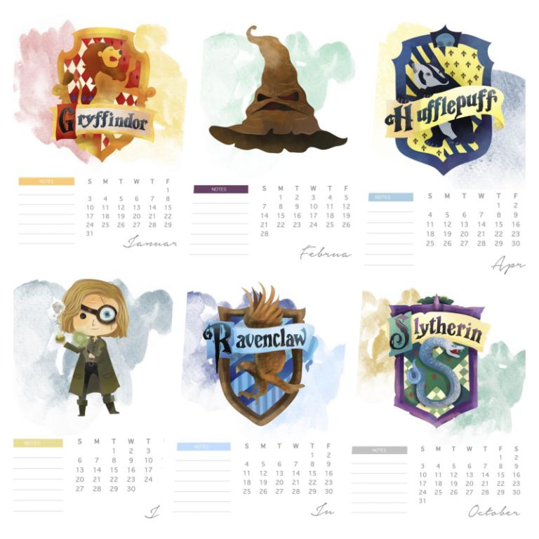 calendario 2021 harry potter