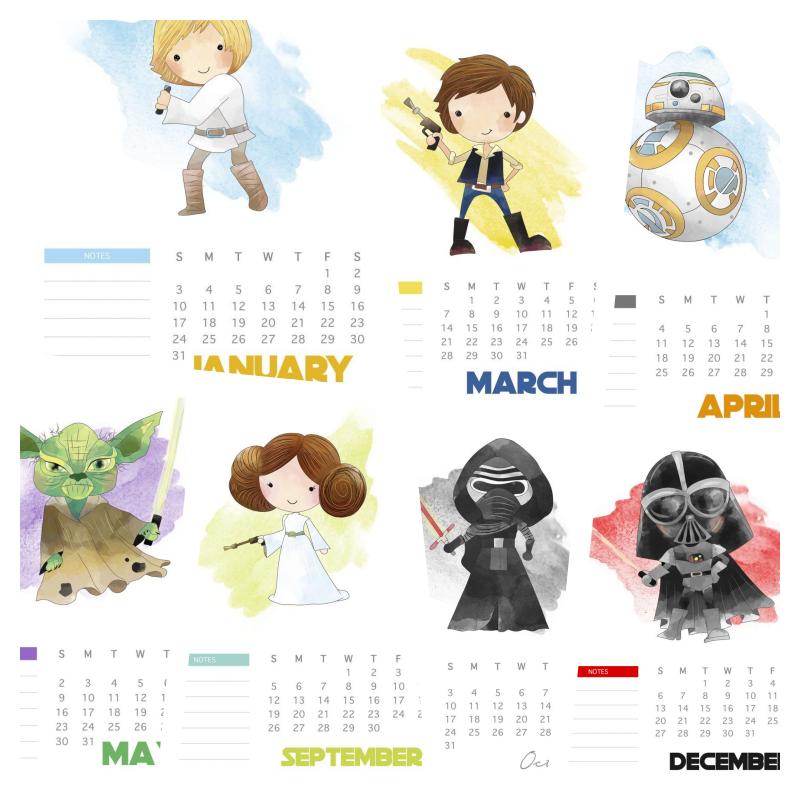 calendario mensal 2021 star wars