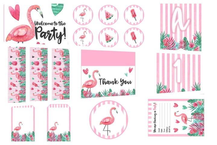 kit festa flamingo para imprimir