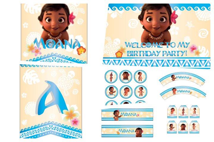 kit festa moana baby para imprimir