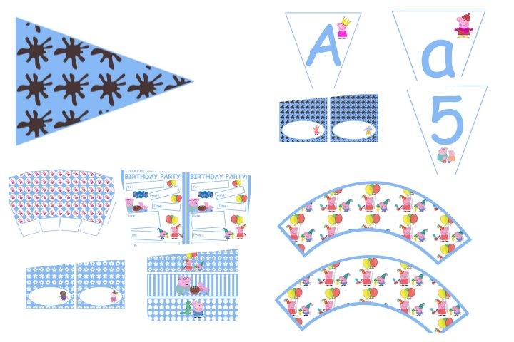 kit festa peppa pig azul