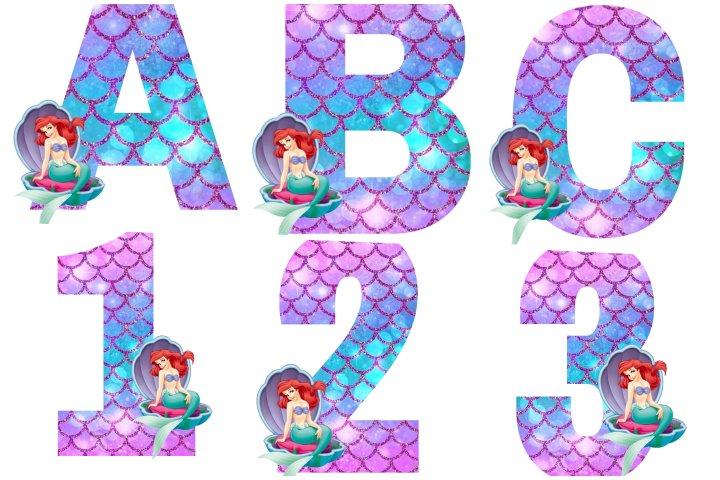 alfabeto personalizado pequena sereia
