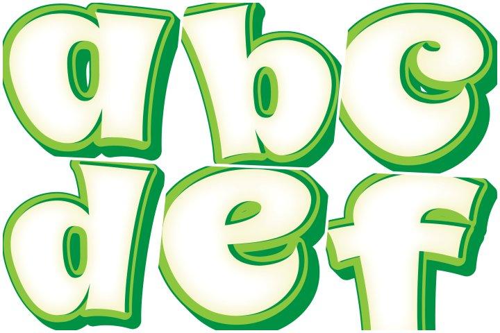alfabeto personalizado verde e branco