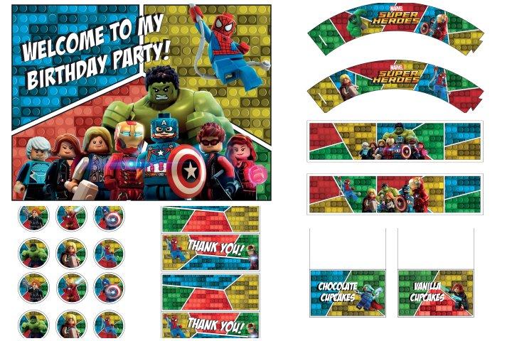kit festa lego marvel super heróis para imprimir