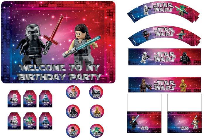 kit festa lego star wars para imprimir