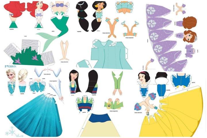 papercraft princesas para imprimir e montar