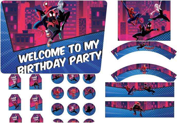 kit festa homem aranha no aranhaverso para imprimir