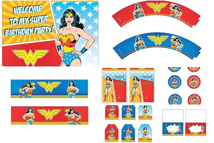 kit festa mulher maravilha para imprimir