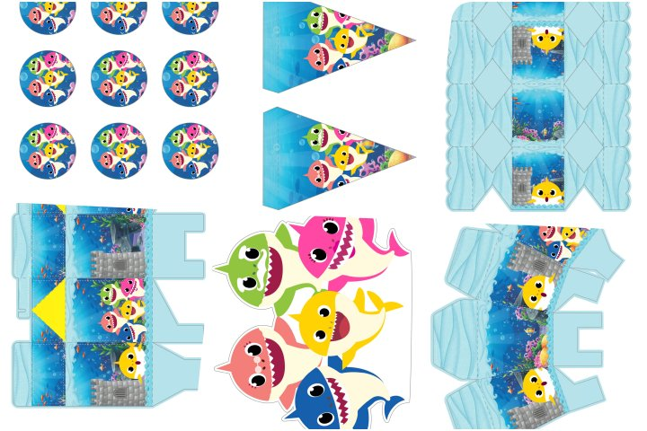 kit festa baby shark para imprimir