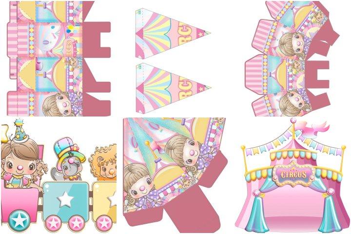 kit festa circo rosa para imprimir