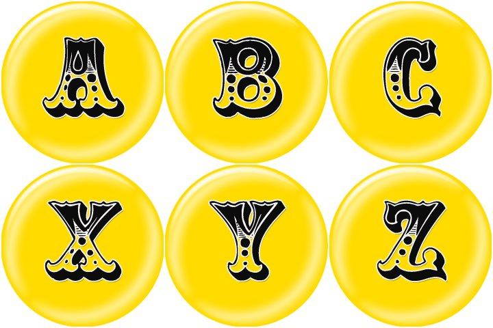 alfabeto personalizado circo amarelo para imprimir