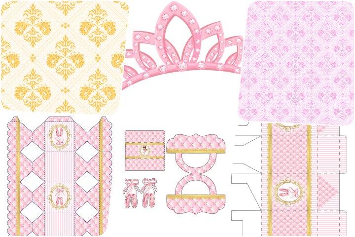 kit festa bailarina rosa dourado