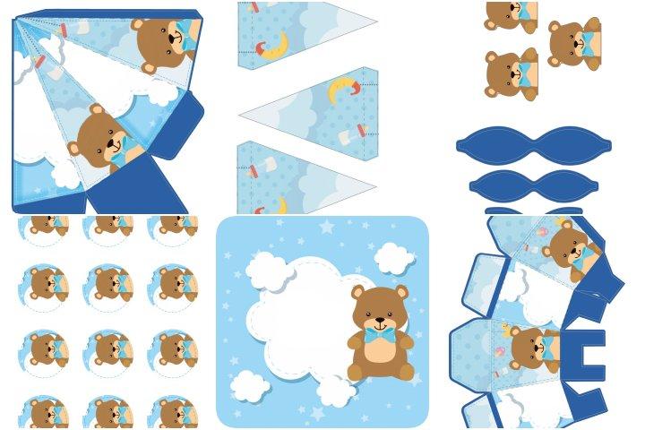 kit festa cha de bebe menino para imprimir