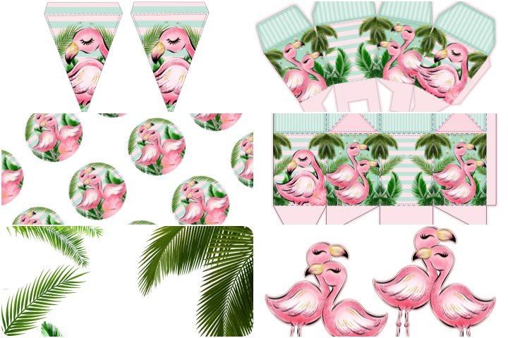 kit festa flamingo rosa e verde para imprimir