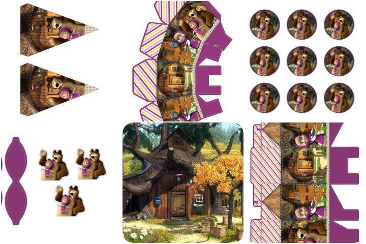 kit festa masha e o urso para imprimir