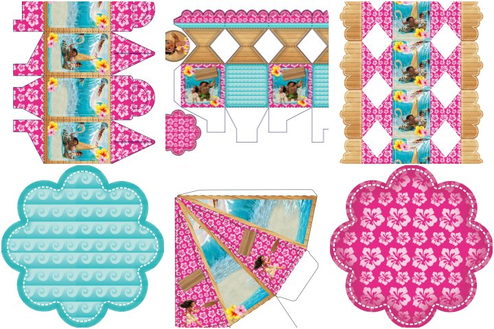 kit festa moana rosa e azul para imprimir