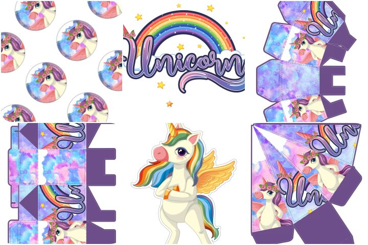 kit festa unicorinio roxo para imprimir