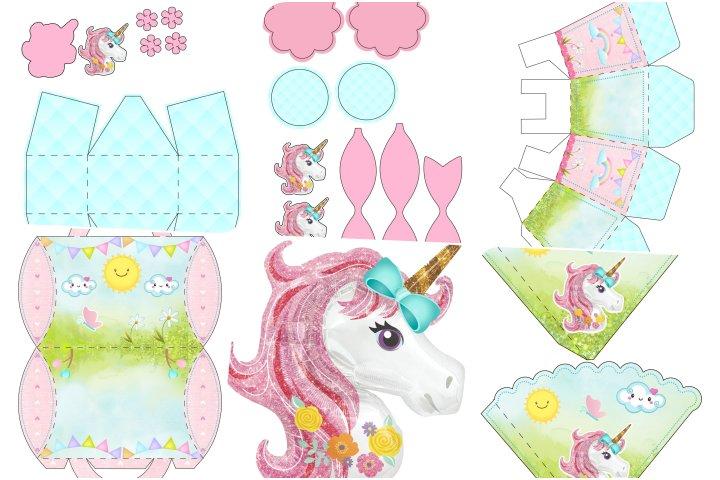 kit festa unicornio rosa e azul para imprimir