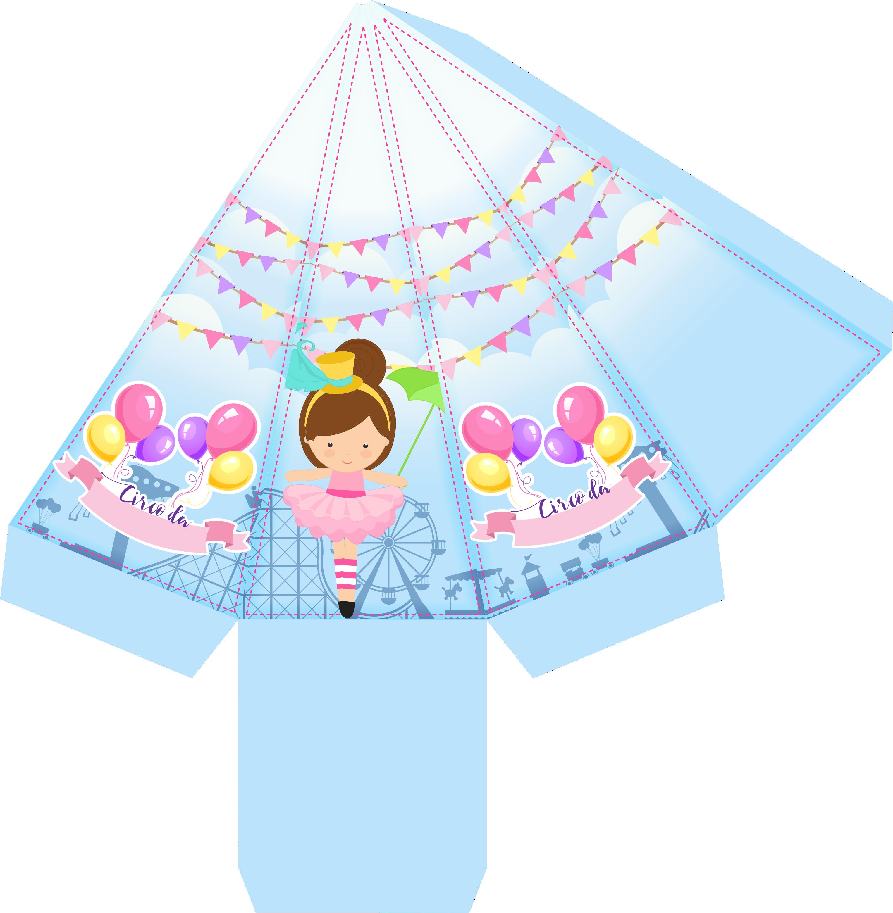 caixa piramide bailarina circo rosa 1