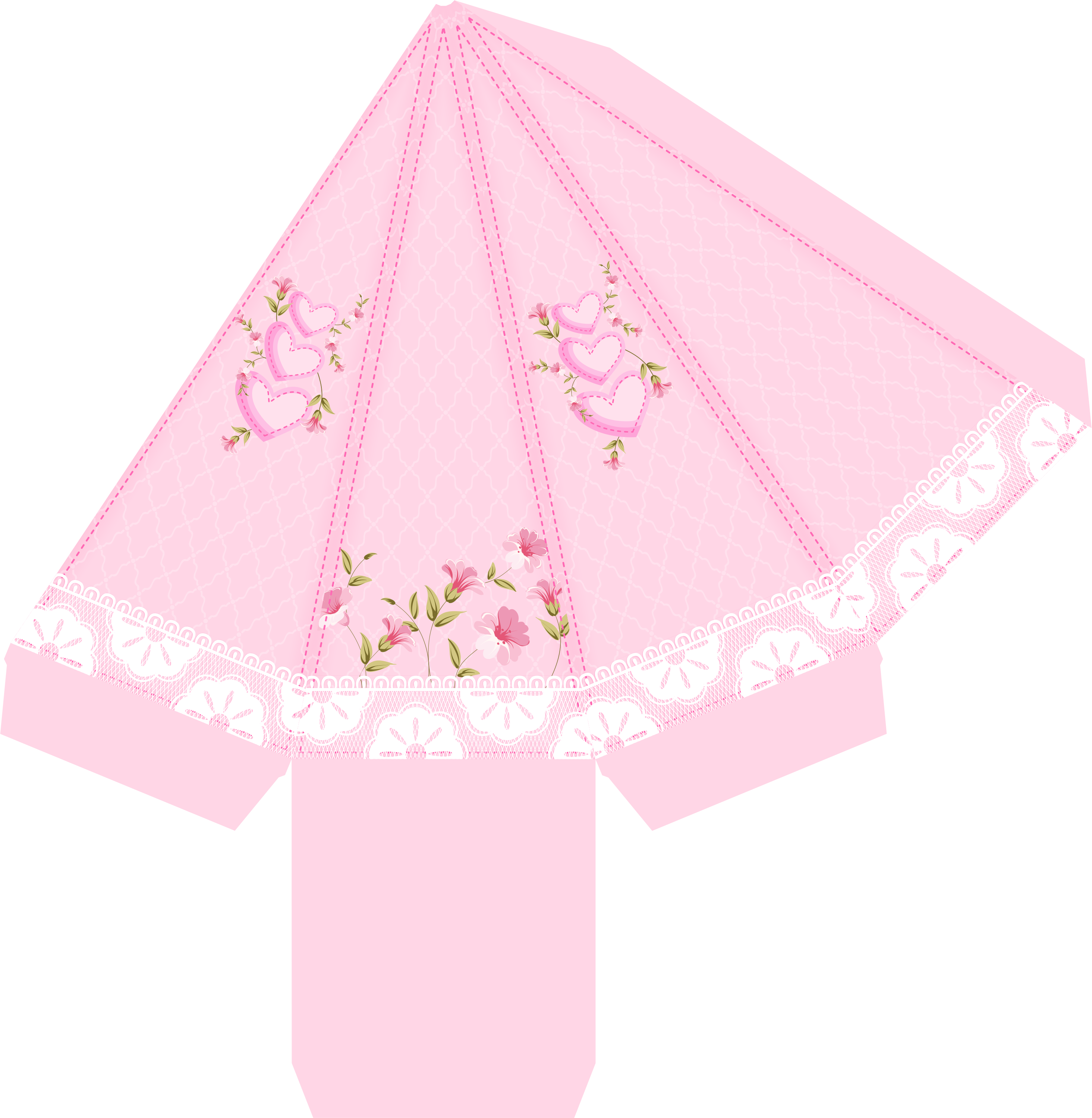 caixa piramide casa de bonecas rosa 1