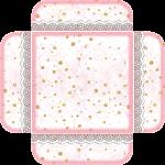 caixa visor tampa cha de bebe rosa