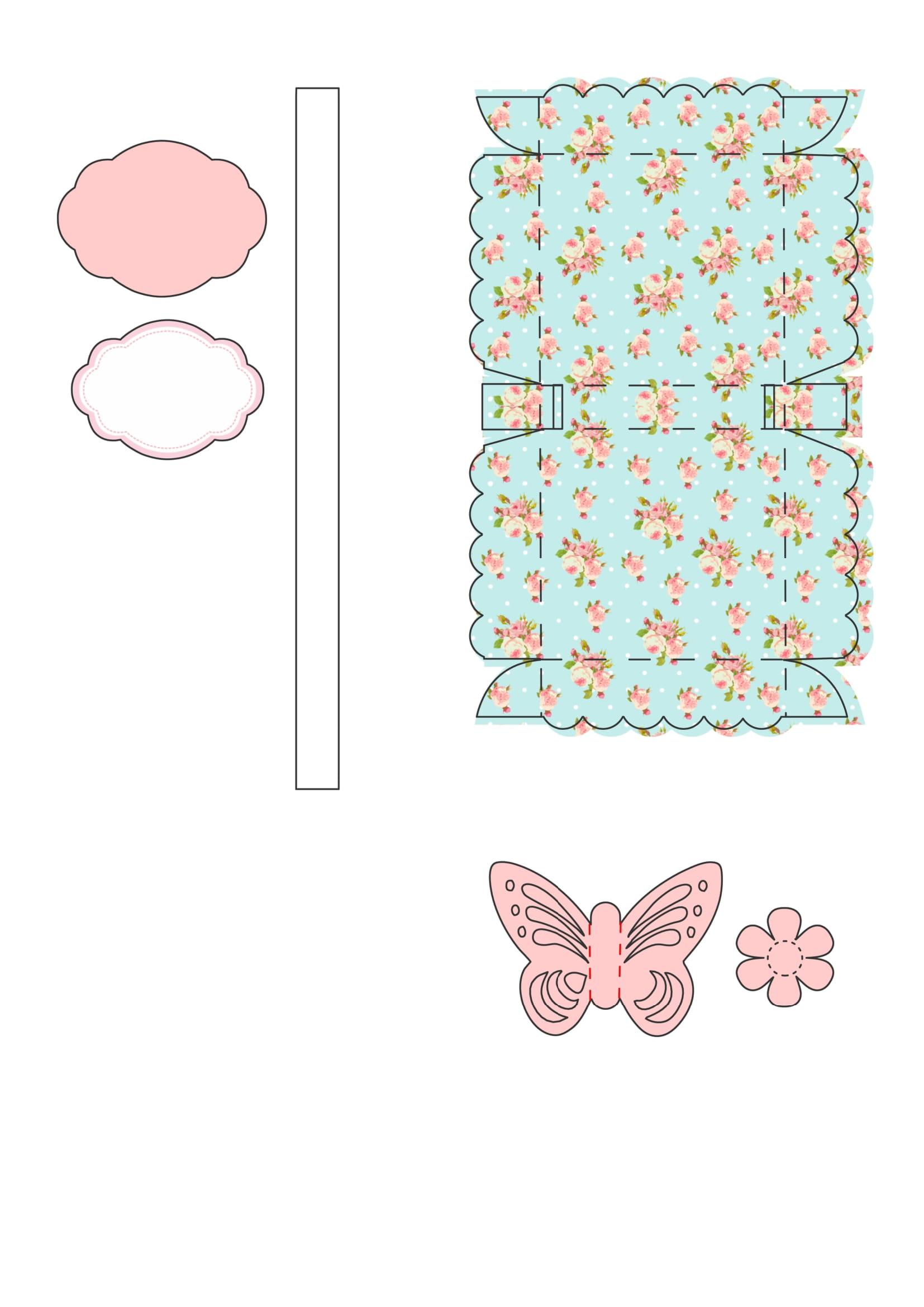 cestinha jardim rosa apliques