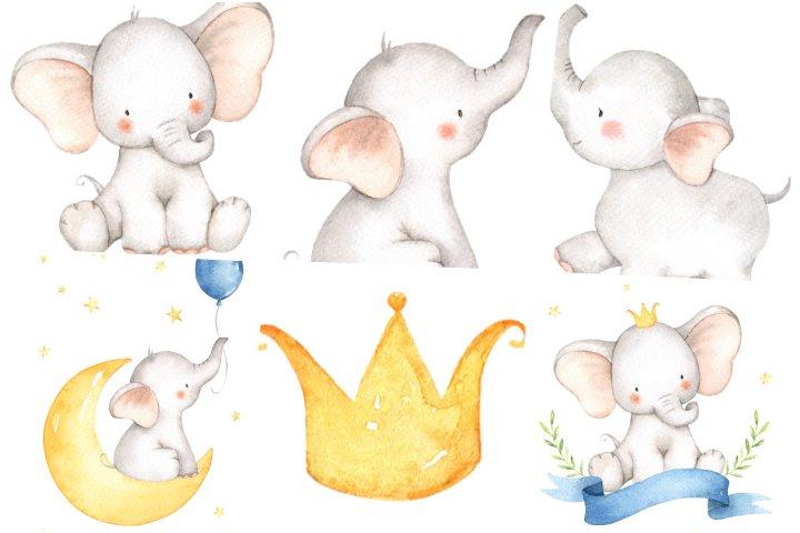 elementos elefantinho aquarela para imprimir