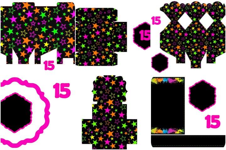 kit festa 15 anos neon para imprimir