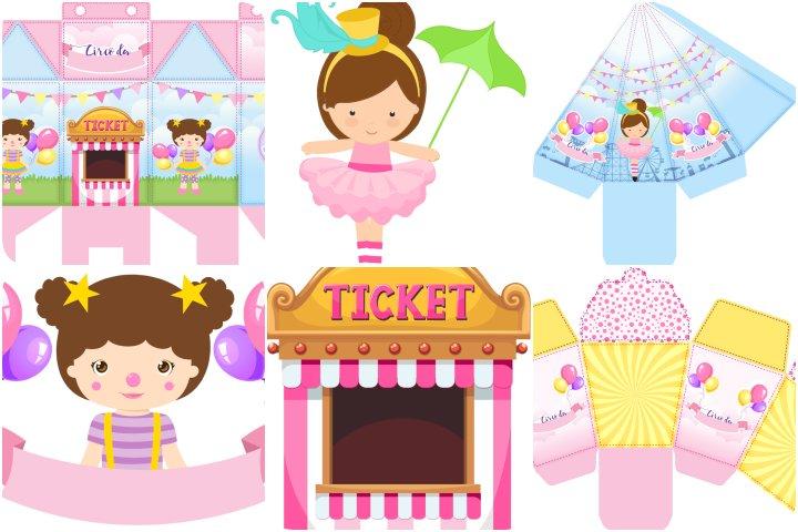 kit festa bailarina circo rosa para imprimir