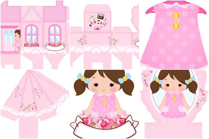 kit festa casa de bonecas rosa para imprimir