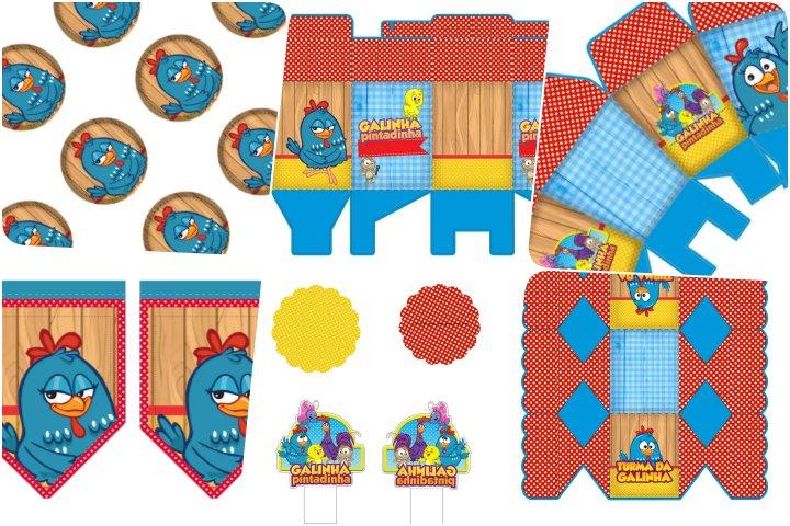 kit festa galinha pintadinha azul e vermelho para imprimir