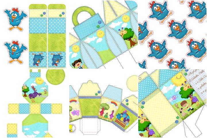 kit festa galinha pintadinha verde e azul para imprimir