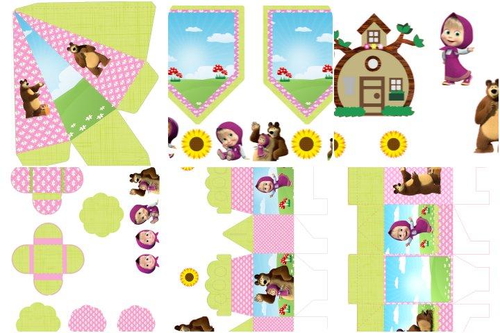 kit festa masha e o urso verde e rosa para imprimir