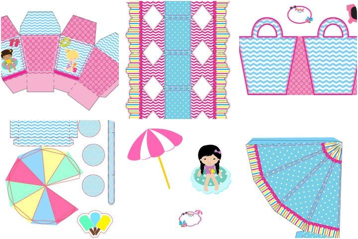 kit festa pool party azul e rosa para imprimir