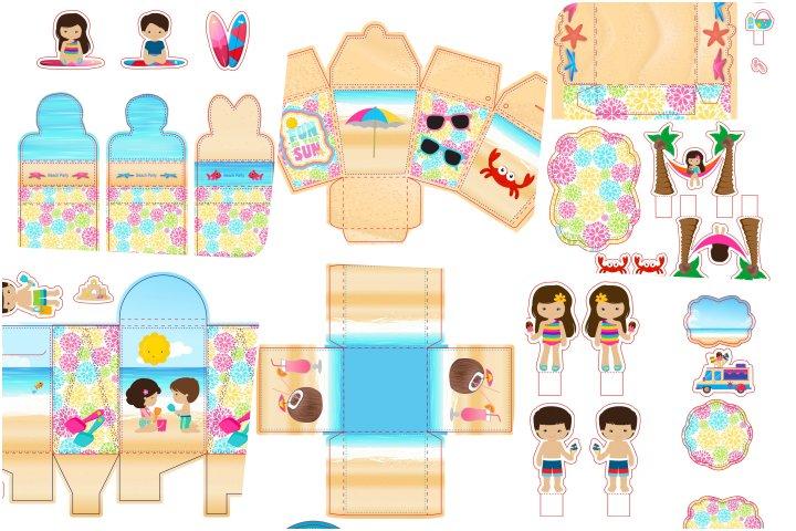 kit festa praia menina e menino para imprimir