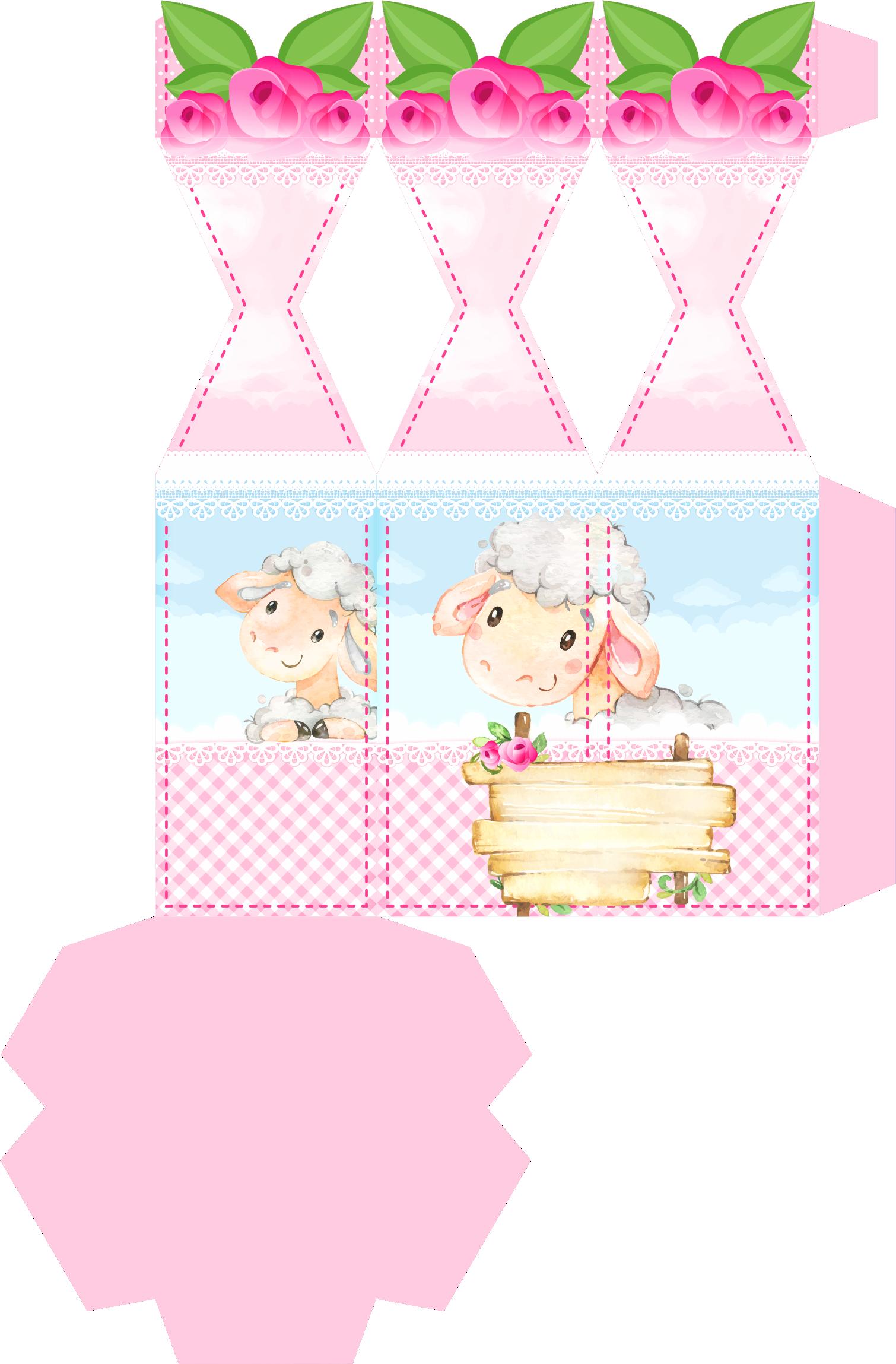 caixa meia bala hexagonal ovelinha rosa 1