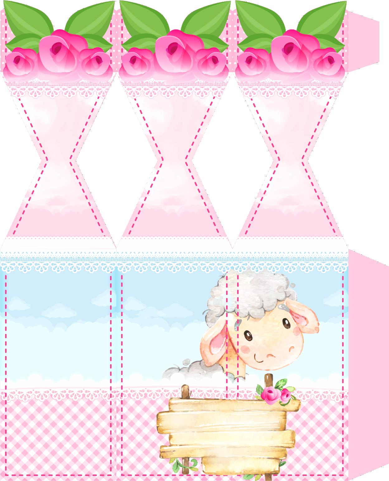 caixa meia bala ovelinha rosa