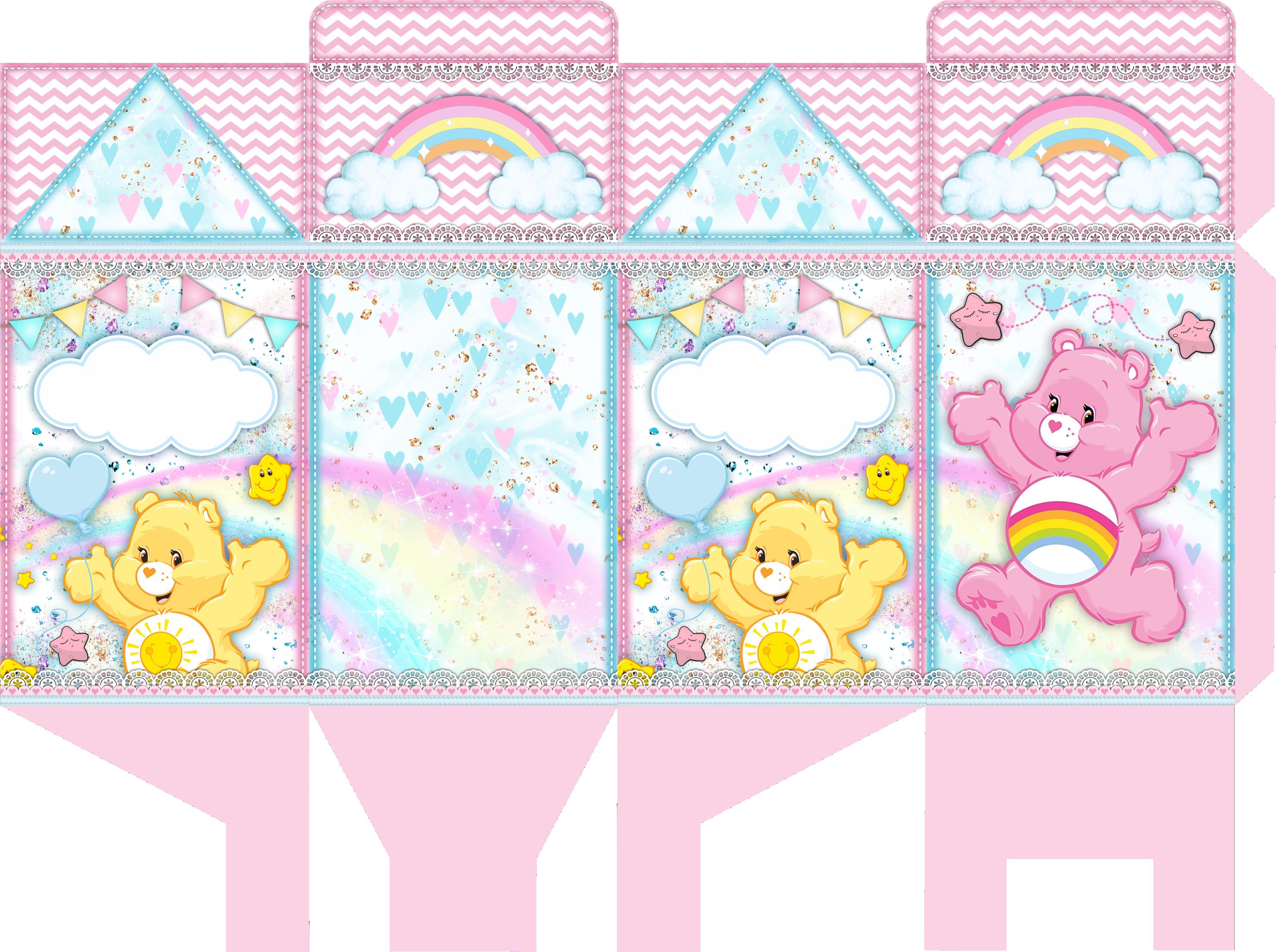 caixa milk ursinhos carinhosos rosa