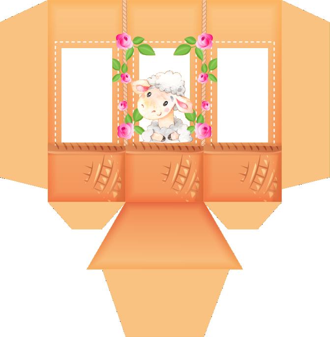 caixa piramide ovelhinha rosa 2