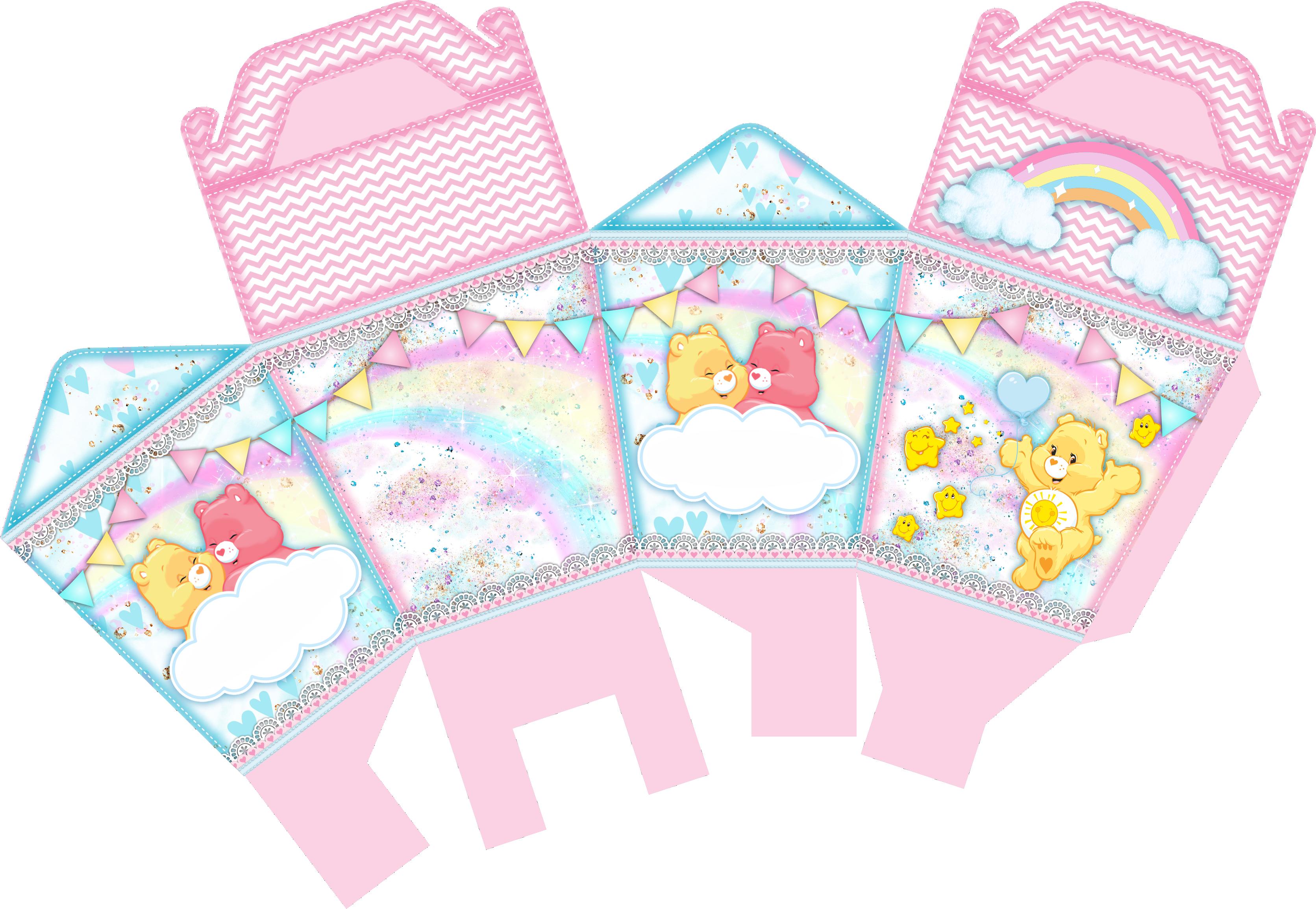 caixa sushi ursinhos carinhosos rosa