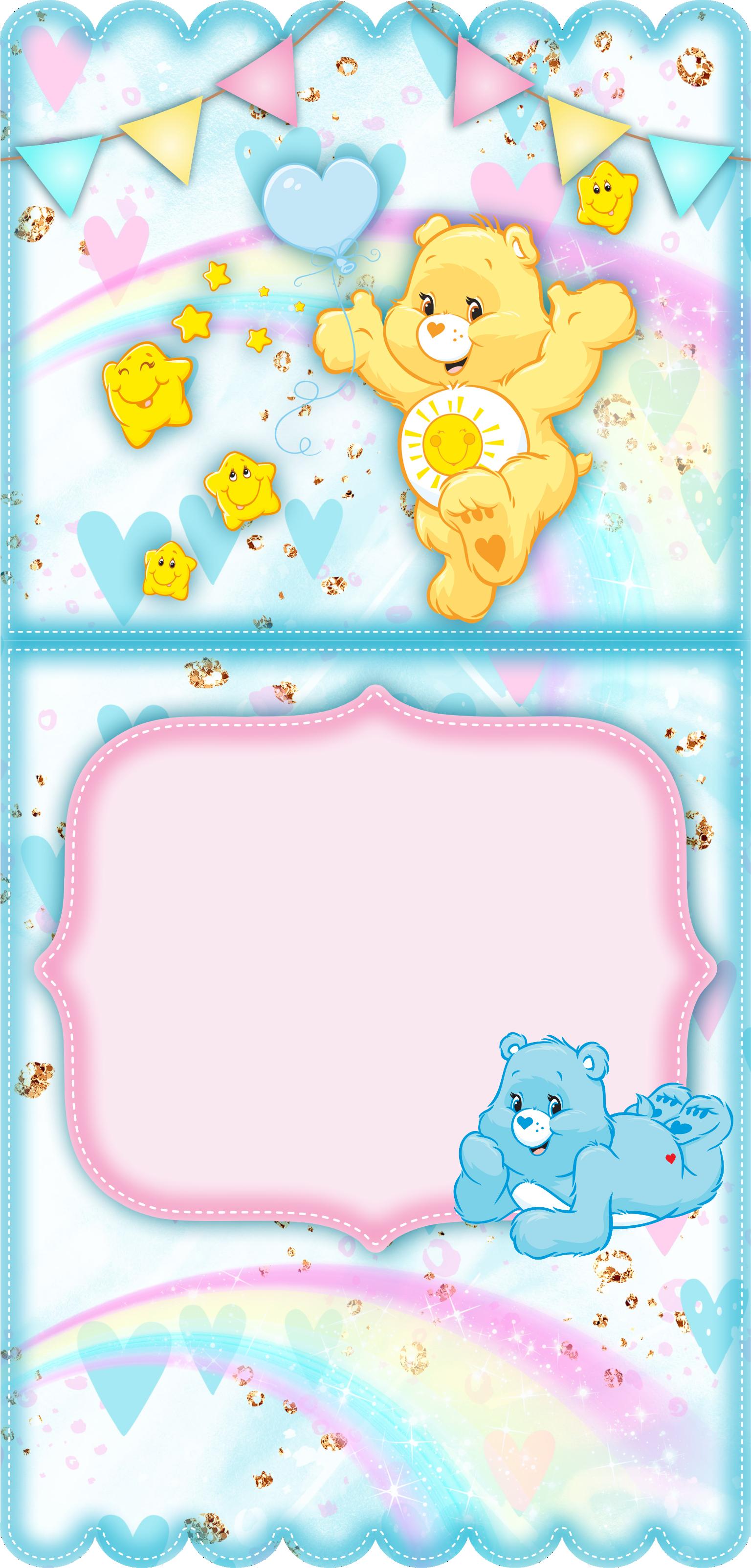 convite ursinhos carinhosos rosa