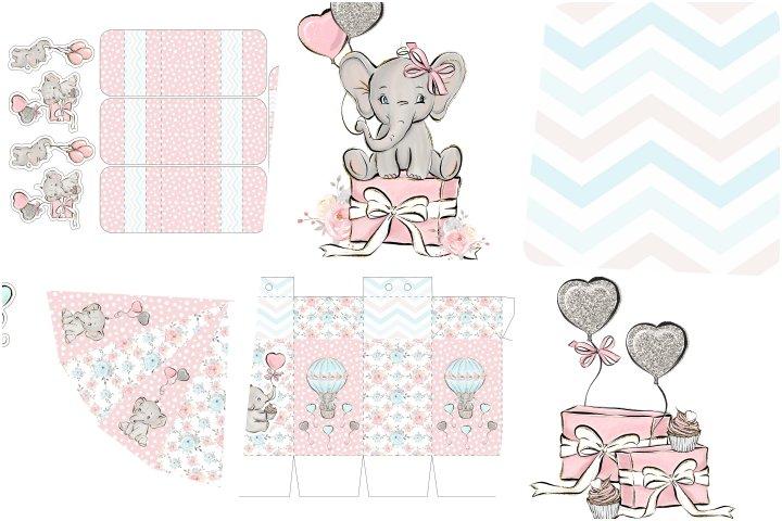 kit festa elefantinho aquarela para imprimir
