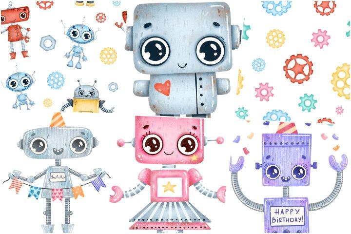 papeis e elementos robo cute para imprimir
