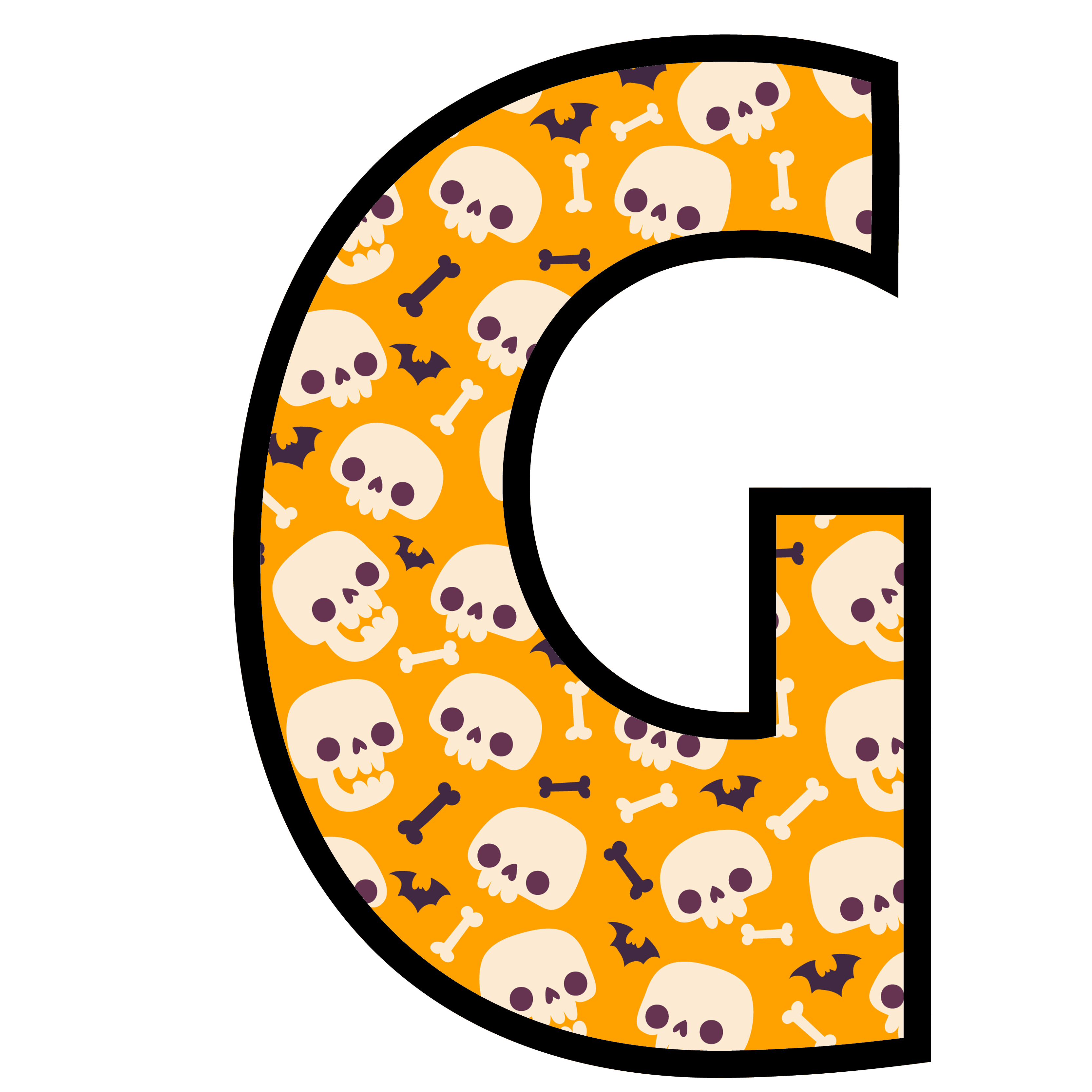 alfabeto personalizado caveiras halloween 7
