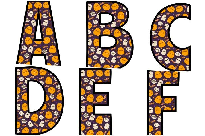 alfabeto personalizado fantasma halloween para imprimir